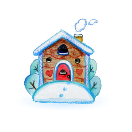 Image of the Wooden House Covered with Snow in a Beautiful Nature. Merry Christmas and Happy New Year Card or Invitation in Cartoon Style on White  イラスト・ベクター素材