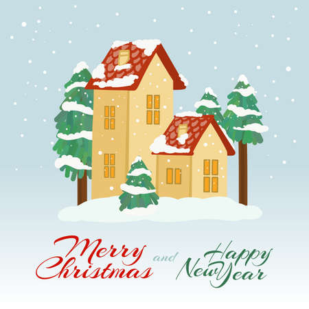 Merry Christmas Card, Poster.Winter Day Landscape Countryside Private Houses. Wintertime the Falling Snowflakes Christmas Trees