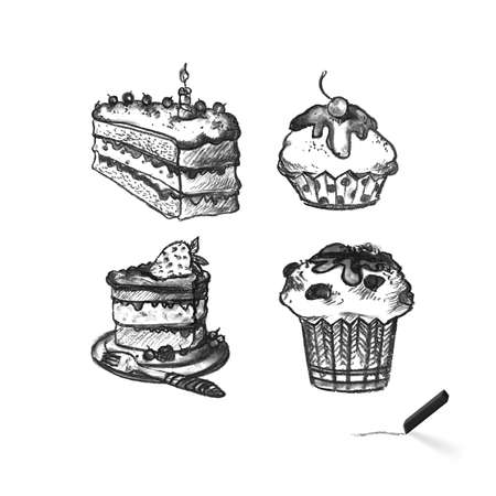 Cake Silhouette Black and White Illustration. Different Cakes Arranged in Set and Collection. Delicious and Sweet Food for Celebrations Outline Sketch on White Backdrop