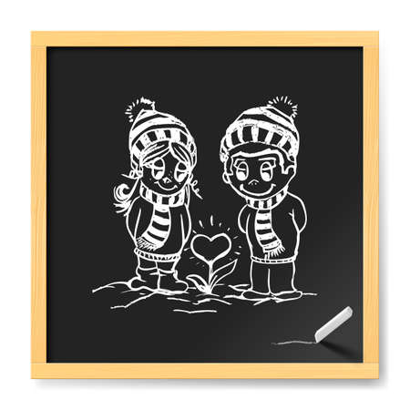 Romantic Couple Near Flower in Heart Shape Them Love. Illustration Suitable For Winter Greeting Card, Poster Or T-shirt Printing on Chalkboard Illustration