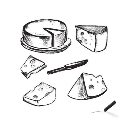Cheese Set. Menu for Cafe or Restaurant Menu Card Simple Decoration. Illustration in Sketch Style on White Background Ilustração