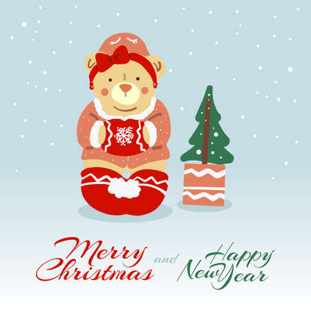 Cute Female Bear wishing Merry Christmas and Happy New Year. Cartoon Character with Christmas Tree. Christmas Concept Illustration for Greeting Cards or Festive Banner
