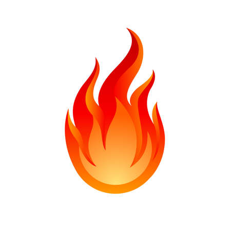 Fire Spurts Logotype or Hot Burn Symbol. Warning About the Fire Danger Fire Attention Icon, Spicy Food Sign.