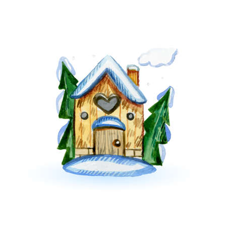 Cartoon Country House, Wooden Fence, Snowy Garden, Smoke from the Chimney, Snowdrift. Merry Christmas and Happy New Year Card or Invitation in Cartoon Style on White  イラスト・ベクター素材