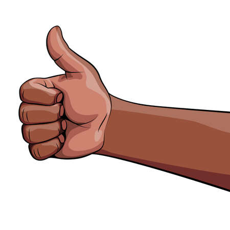 Illustration of Human Hand African Descent Showing Symbol Like. Making a Thumb up Gesture. Like Positive Fist on White Background. Cartoon Retro Thumb up Arm. Ok Like Hand Gesture