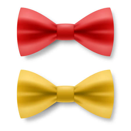 Red and Yellow Bow Tie From Satin Material. Realistic Formal Wear for Gentleman Smoking Bow Tie Garment Accessory on White Background Illustration