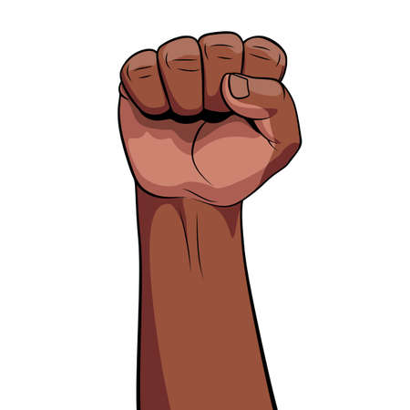 Hand Male African Descent Clenched Fist Raised to Top. Male Rage Force Riot Palm on White Background. Can be Used as a Winner, Revolutionary or a Rebel. Closeup with Space for Text Ilustrace