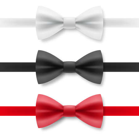 Biało-czarno-czerwona muszka z satynowego materiału. Realistyczna odzież wizytowa dla dżentelmena palenia muszka akcesoria do odzieży na białym tle