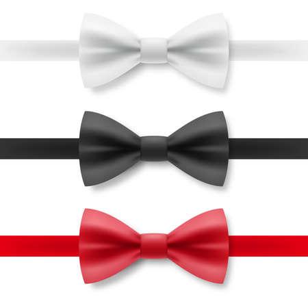 Nœud papillon blanc, noir et rouge en satin. Tenue de soirée réaliste pour Gentleman Smoking Bow Tie Accessoire de vêtement sur fond blanc