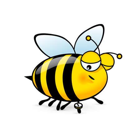 Ilustración de un simpático lindo Sleepy Bee mira el reloj sobre fondo blanco. Ilustración de vector