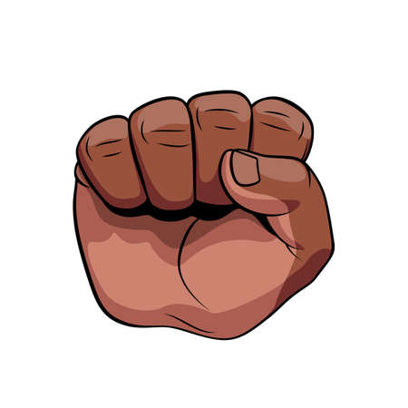 Raised Male Hand African Descent Compressed in a Fist with Palm Towards Viewer. Concept of Power, Superiority or Leadership. Realistic Color Sketch Illustration on White Backdrop Vettoriali