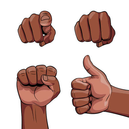 Set of Realistic Human Hands African Descent Showing Different Gestures and Signals. Signs for Web, Poster or InfoGraphic on White Backdrop.