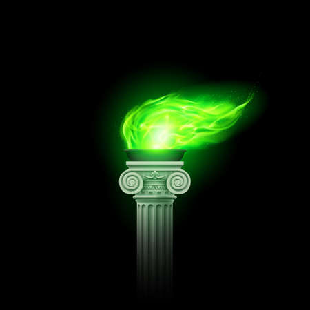 Ancient Column with Green Flame Swaying in the Wind. Illustration of a Flaming Torch Based on the Torches of Ancient Greece and Rome on Black Background