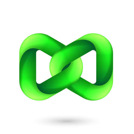 Abstract Green Model of Geometric Torus Knot Object. Illustration for Science, Digital or Biological Design on White Backdrop
