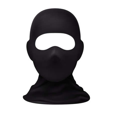 Balaclava Snowboarding or Mountain Skiing Protective Wear. Symbol of Hacker, Terrorist, Robber or a Criminal Person. Also Equipment for Special Forces or Winter Sports