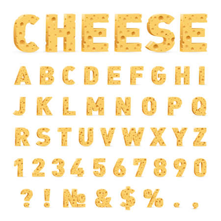 Font from Cheese. Cheese in the Form of Letters, Numbers, and Symbols. Illustration of Stylized Cute Alphabet Cartoon Cheese Letters to Make Your Text on White Background