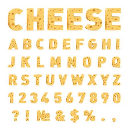 Schriftart von Käse. Käse in Form von Buchstaben, Zahlen und Symbolen. Illustration von stilisierten niedlichen Alphabet-Karikatur-Käse-Buchstaben, um Ihren Text auf weißem Hintergrund zu machen