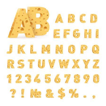 Font from Cheese. Letters, Numbers, and Symbols Made of Cheese. Illustration of Stylized Cute Alphabet Cartoon Cheese Letters to Make Your Text on White Background