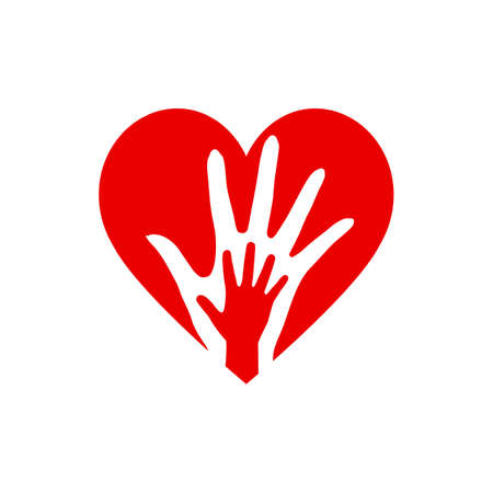 Two Hands in the Heart Icon as Orphan Children Adoption Metaphor. Great Illustration for Could be also used Church  or Donation Icon on White Backdrop
