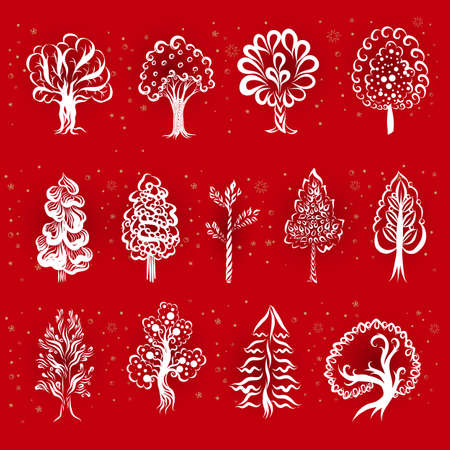 Engraving Doodle Sketchy Big Set of Monochrome Tree Silhouette. Drawing Collection of Different Types Trees. Hand Drawn Illustration on Red Background