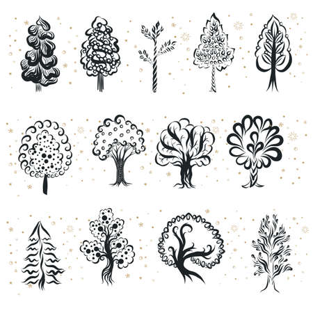 Engraving Doodle Sketchy Set of Monochrome Tree Silhouette. Elements Package Organic Eco Product of Different Types Trees. Hand Drawn Illustration on White Background 向量圖像