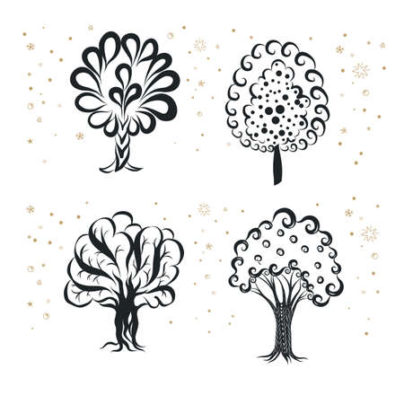Engraving Doodle Sketchy Set of Monochrome Tree Silhouette. Collection Flat Icon of Different Types Trees. Hand Drawn Illustration on White Background