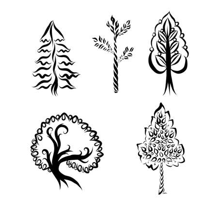 Engraving Doodle Sketchy Set of Monochrome Tree Silhouette. Collection of Brush, Printing Different Types Trees. Hand Drawn Illustration on White Background