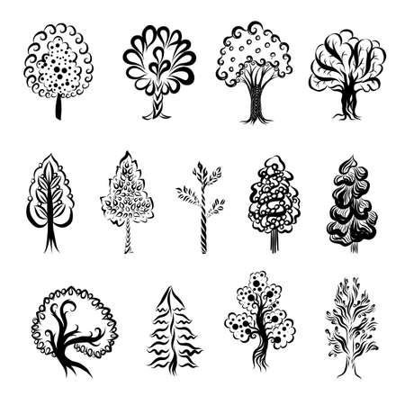 Incisione Doodle abbozzato grande set di silhouette albero monocromatico. Raccolta di disegni di diversi tipi di alberi. Illustrazione disegnata a mano su sfondo bianco