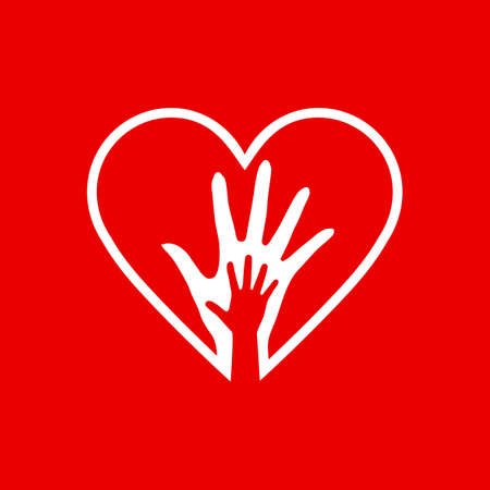 Two Hands in the Red Heart Icon as Orphan Children Adoption Metaphor. Helping or Loving Hands in the Heart on Red Background