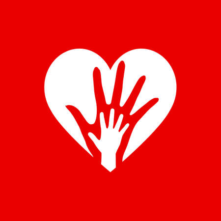 Two Hands in the White Heart Icon as Orphan Children Adoption Metaphor. Ilustracja