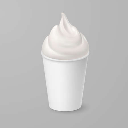 Whipped Soft Vanilla Ice Cream or Fresh Yogurt in White Cardboard Cup. Isolated Illustration on Gray Background