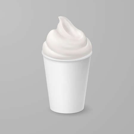 Whipped Soft Vanilla Ice Cream or Fresh Yogurt in Blank Paper or Cardboard Cup. Isolated Illustration on Gray Backdrop
