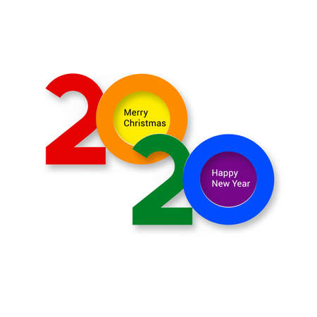 2020 New Year Bright Colorful Numeral Text Lettering on the White Background Design Template. Greeting Card for Design