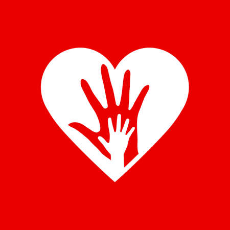 Two Hands in the Heart Icon as Orphan Children Adoption Metaphor.