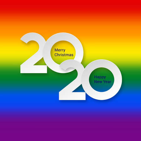 2020 New Year Numeral Text Lettering on Bright Colorful Rainbow Background Design Template. Greeting Card, Banner or Invitation