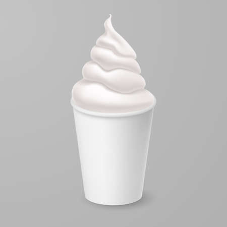 Whipped Vanilla Frozen Yogurt or Soft Ice Cream Mockup in White Cardboard Cup. Isolated Illustration on Gray Background