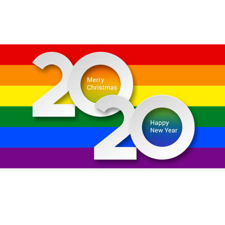 2020 New Year Numeral White Text Lettering on Bright Colorful Rainbow Background Design Template. Greeting Card Illustration