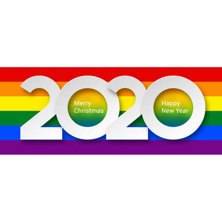 2020 New Year Numeral Text Lettering on Bright Colorful Rainbow Background Design Template. Greeting Card, Banner or Invitation for Creative Idea Stock Vector - 137578947