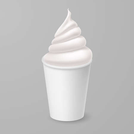 Whipped Vanilla Frozen Yogurt or Soft Ice Cream Mockup in White Paper Cup. Isolated Illustration on Gray Backdrop