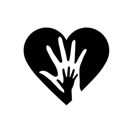Hand of Mother and Child in the Heart Icon. The Symbol of Adoption and Love. Detailed Hand of Mother and Child in Heart Icon Can be Used for Web or Mobile App on White