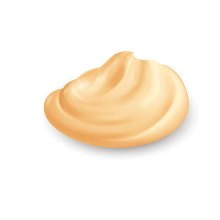 Yellow Whipped Cream Isolated on White Background. Facial Creme, Gel or Body Lotion Skincare Icon. Skin Tone CC Cream Tear Shape