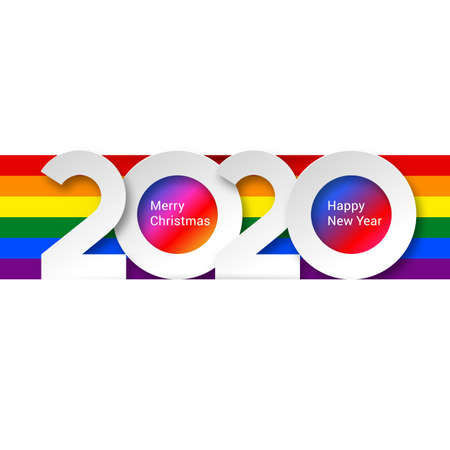 2020 New Year Numeral Text Lettering on Bright Colorful Rainbow Background Design Template. Greeting Card, Banner for Creative Idea