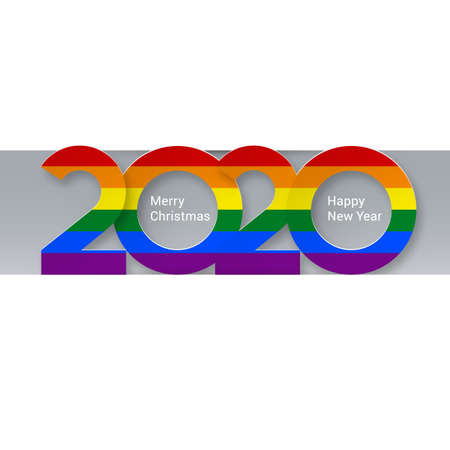2020 New Year Numeral Text Lettering Bright Colorful Rainbow on the Gray Backdrop Design Template. Greeting Card, Banner or Invitation