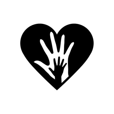 Hand of Mother and Child in the Heart Icon. Conceptual Icon Life Insurance and Property.