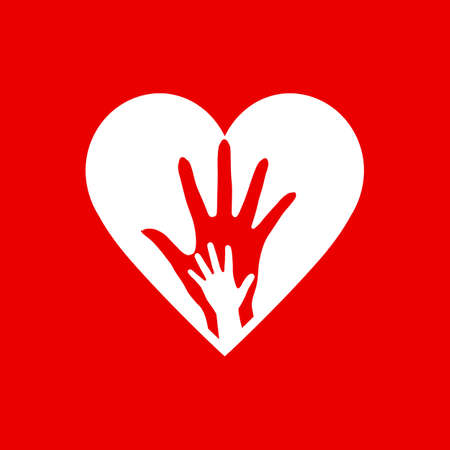 Two Hands in the Heart Icon as Orphan Children Adoption Metaphor. Great an Illustration or symbol for Child Adoption or Medical or kids Health Care Charity Agency on Red Background