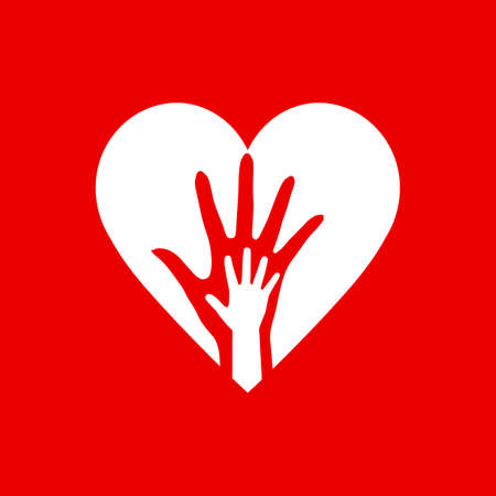 Two Hands in the Heart Icon as Orphan Children Adoption Metaphor. Helping or Loving Hands in the White Heart on Red Background