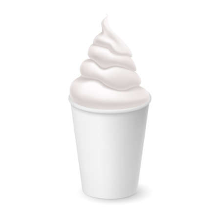 Whipped Vanilla Frozen Yogurt or Soft Ice Cream Mockup in White Cardboard Cup. Isolated Illustration on White Background