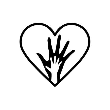 Hand of Mother and Child in the Heart Icon. The Element of Orphanage Emblem or Family Sign. Detailed Hand of Mother and Child in Heart Icon Can be Used for Web or Mobile App
