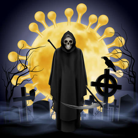 Illustration of Cemetery and Angel of Death with a Scythe. Apocalypse and Hell Concept Design Coronavirus Epidemic COVID-19. Deadly SARS-CoV-2 Spread in Europe and World