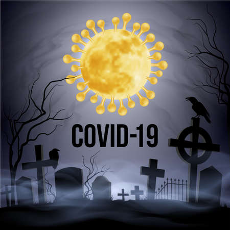Concept Illustration of Graveyard and Coronavirus Epidemic COVID-19. Apocalypse and Hell Concept Design. Deadly SARS-CoV-2 Spread in Europe and World